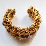 Tigers Eye Wire Wrapped Bracelet Cu..